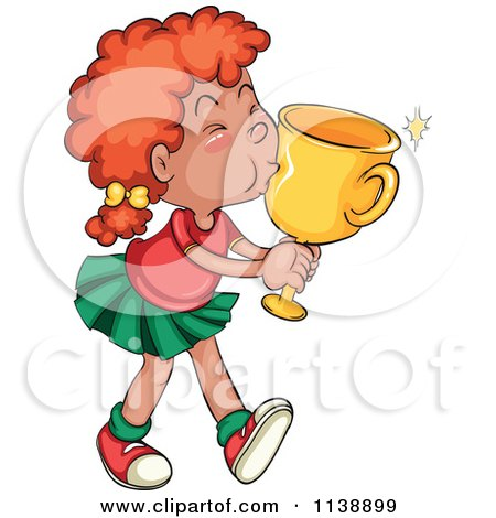 450x470 Cartoon Of A Red Haired Girl Kissing Her Winning Trophy