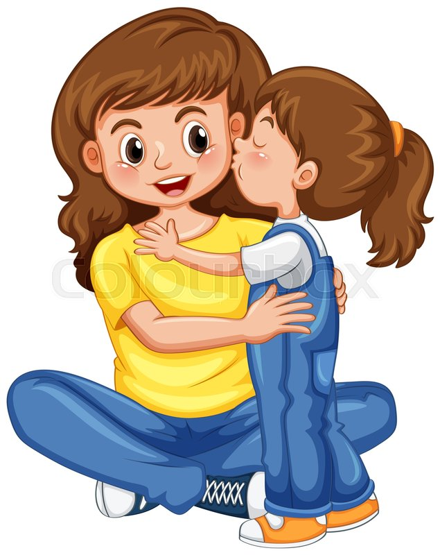 635x800 Daughter Kissing Her Mother Illustration Stock Vector Colourbox