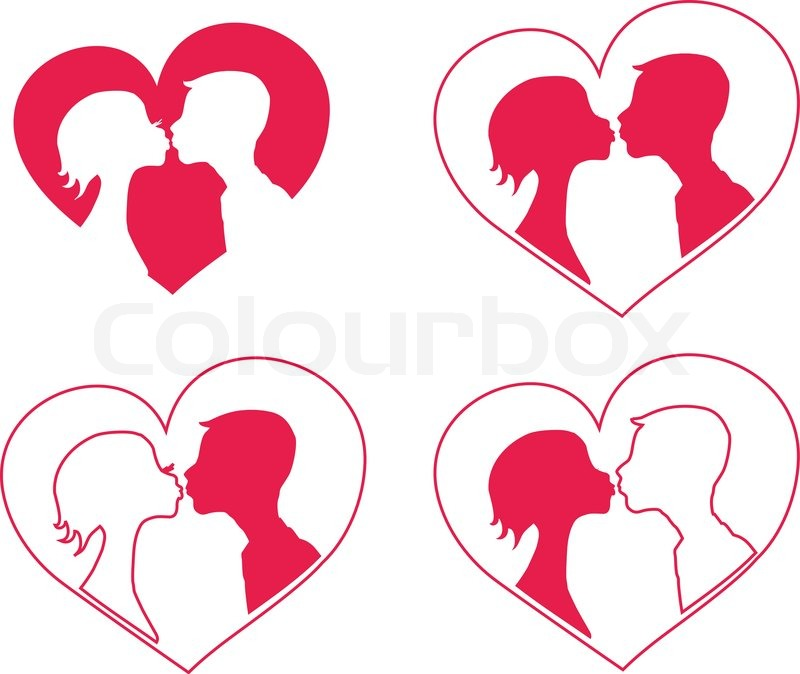 800x674 Kissing Boy And Girl Silhouettes In Heart Shape Background Stock