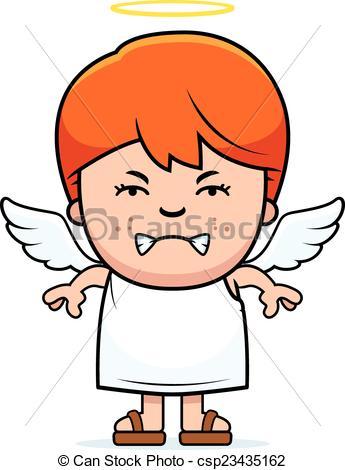 345x470 Angry boy angel. A cartoon illustration of a angel boy with