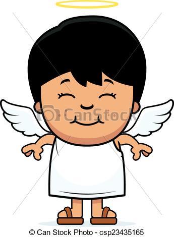 345x470 Child angel. A cartoon illustration of a boy angel standing