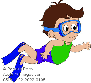 300x275 Clip Art Illustration Of A Cartoon Boy Swimming Wearing Goggles