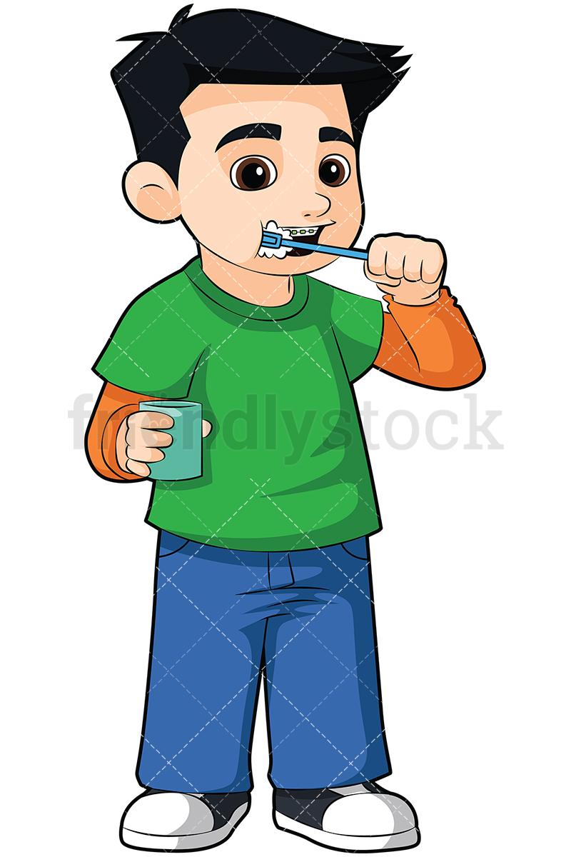 800x1200 Little Boy Brushing His Braces Vector Cartoon Clipart