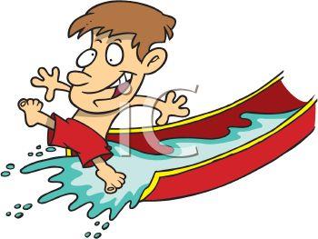 350x263 Summer Cartoon Of A Boy On A Water Slide