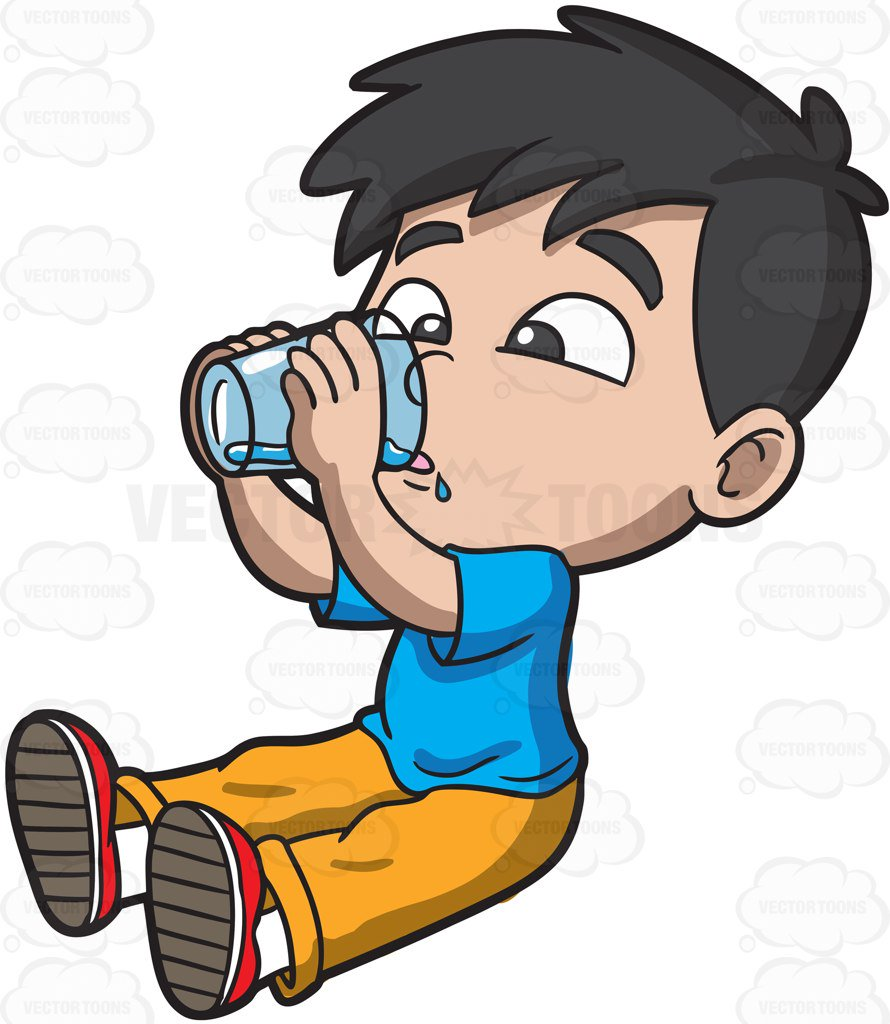 890x1024 A Thirsty Young Boy Drinking Water Cartoon Clipart Vector Toons