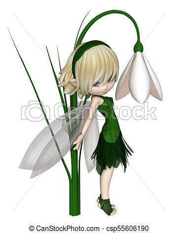 360x470 Cute Toon Blonde Snowdrop Fairy, Standing. Cute Toon Blonde