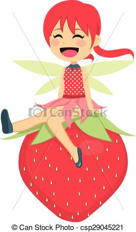 276x470 Happy Strawberry Fairy. Cute Little Strawberry Fairy Sitting Happy
