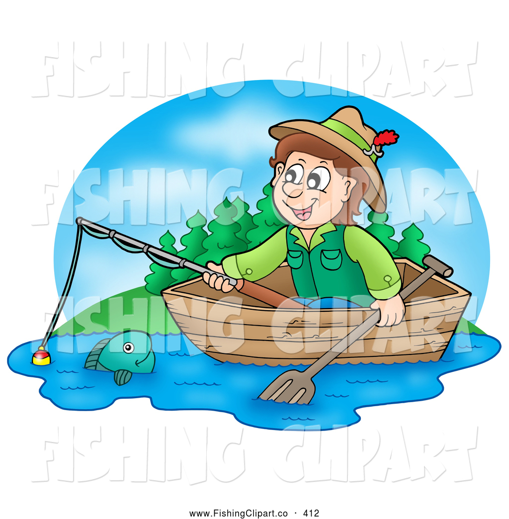 1024x1044 Clip Art Of A Smiling Boy Fishing In A Wooden Boat By Visekart