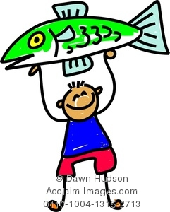 241x300 Clipart Image Of Little Boy Holding A Giant Fish