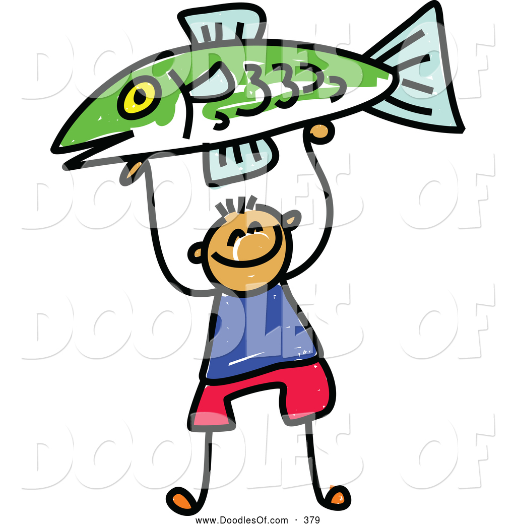 1024x1044 Vector Clipart Of A Happy Boy Holding Up A Fish By Prawny