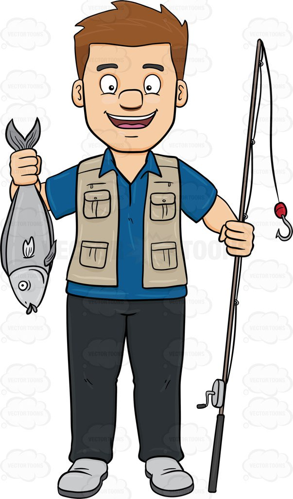 603x1024 Man Fishing Clipart A Happy Man Shows Off A Fish He Has Caught
