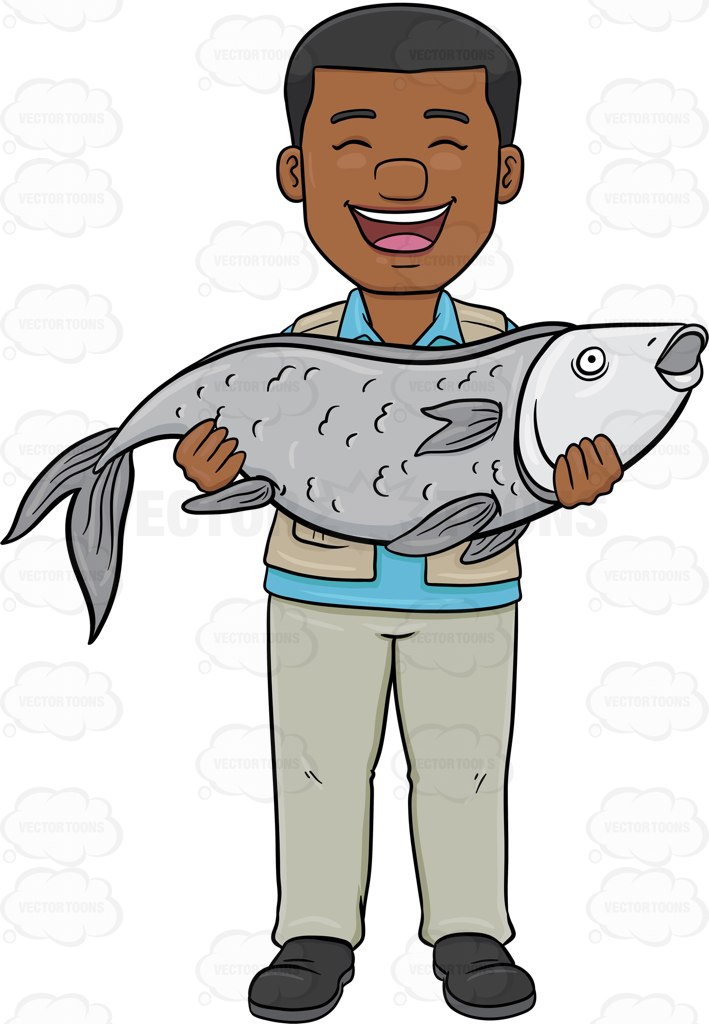 709x1024 A Black Man Proudly Carries His Big Catch Of The Day Cartoon