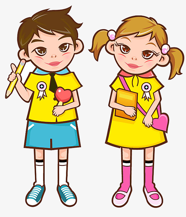 600x700 Cartoon Student, Yellow, Boy, Girl Png Image And Clipart For Free