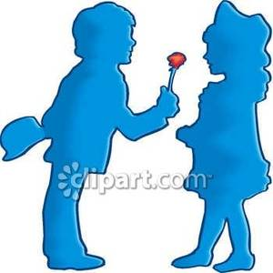 300x300 Clip Art Picture Of A Boy Giving A Flower To A Girl