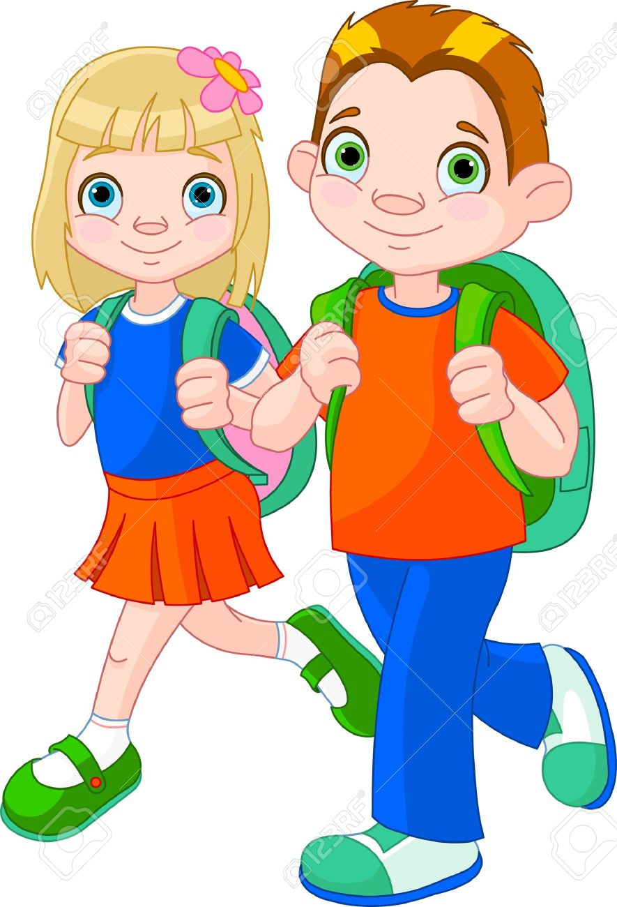 885x1300 Clipart Girl And Boy