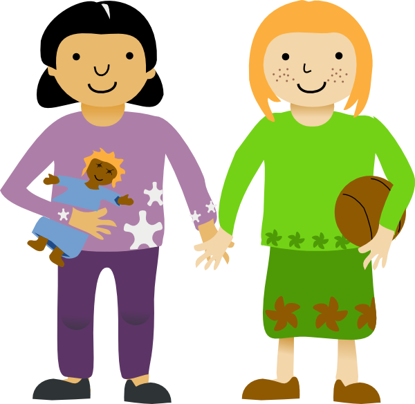 600x584 Two Little Girls Clip Art Free Vector 4vector
