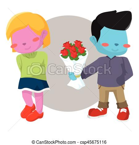 450x470 Blue Boy Giving Pink Girl Rose Vector Clip Art