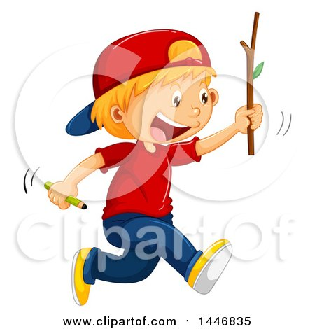 450x470 Cartoon Of A Red Haired Boy Running In The Country