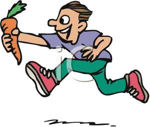 300x254 Clipart Picture A Boy Running While Holding A Carrot