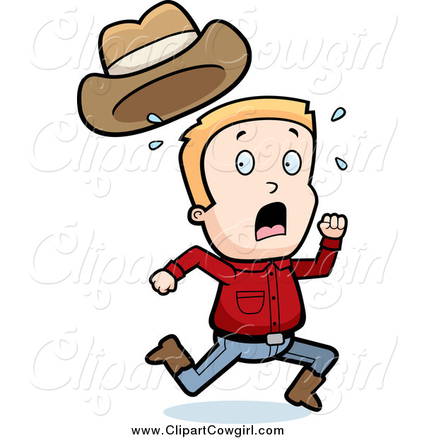 600x620 Clipart Of A Scared Blond Caucasian Cowboy Boy Running By Cory