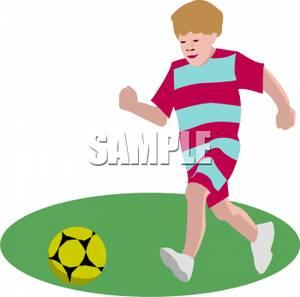 300x297 A Boy Running And Kicking A Soccer Ball Clip Art Image