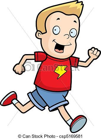 342x470 A Happy Cartoon Boy Running And Smiling. Vector Clip Art