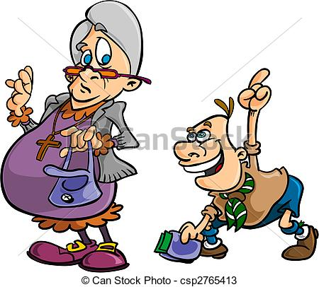 450x406 Boy Scout Helping Old Lady Lost Her Wallet Vectors