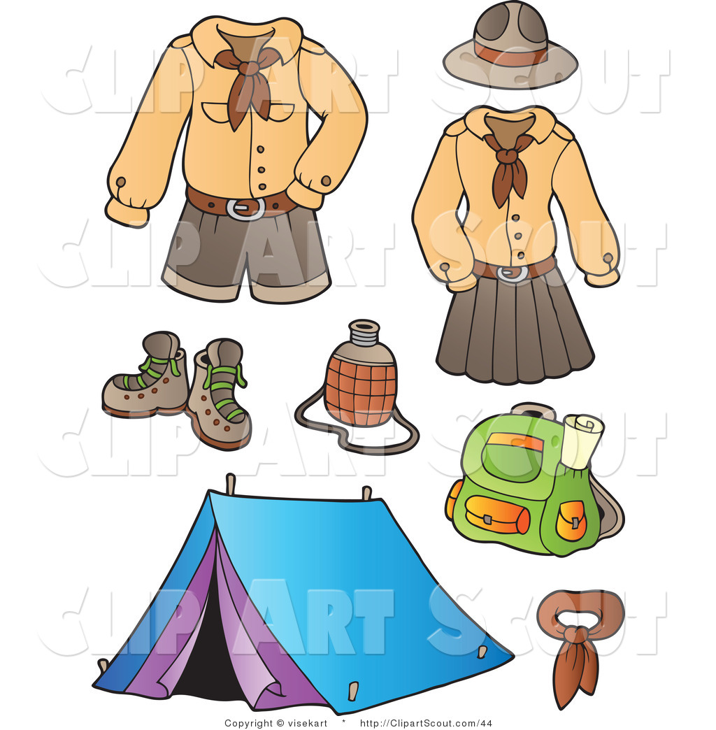 1024x1044 Clipart Of Scout Uniforms And Camping Gear Digital Collage By