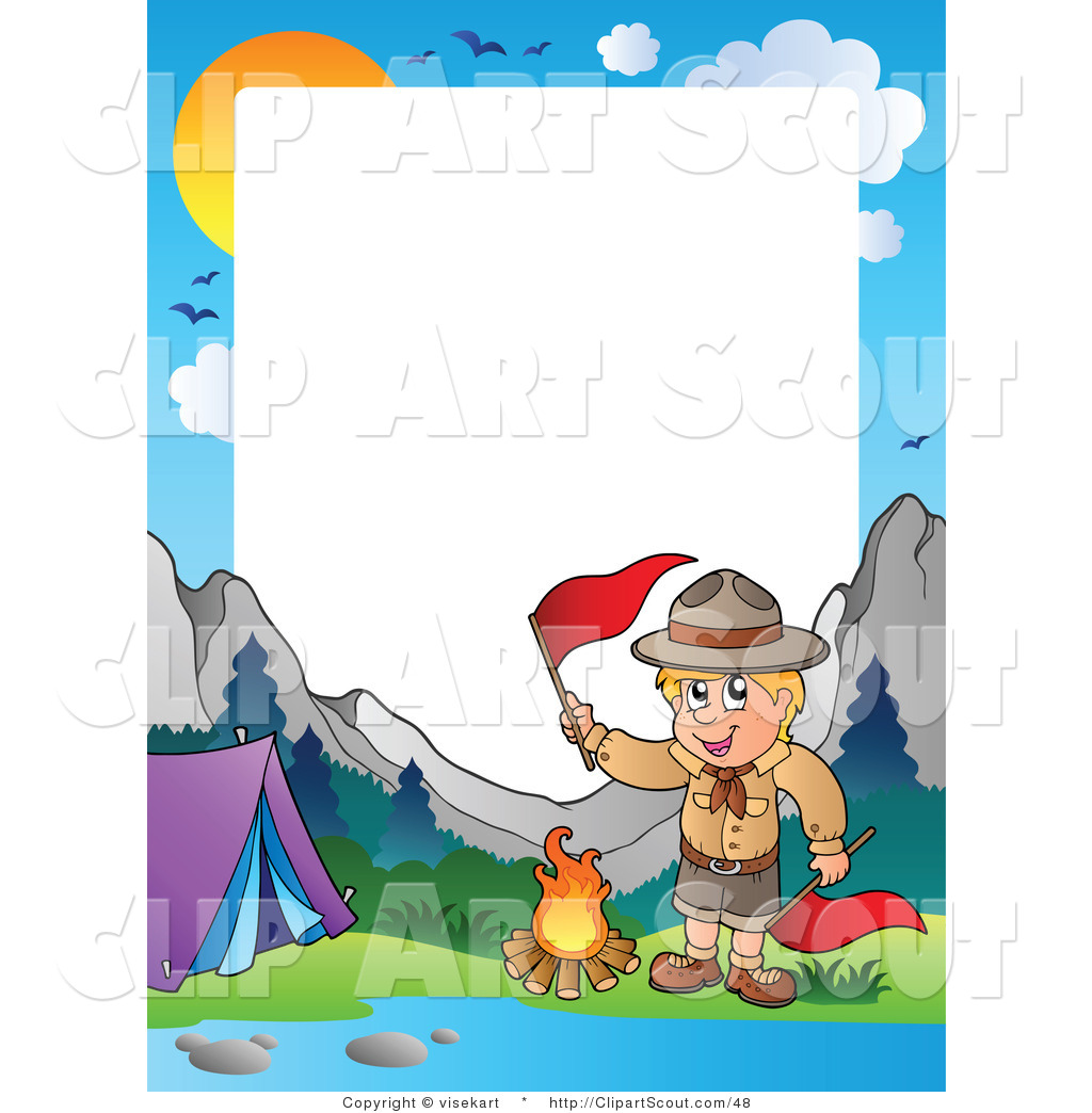 1024x1044 Clipart Of A Boy Scout Camping In The Wilderness Border By