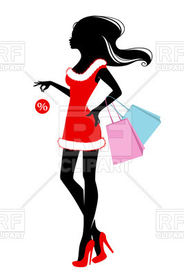 267x400 Silhouette Of Slender Woman With Shopping Bags Royalty Free Vector
