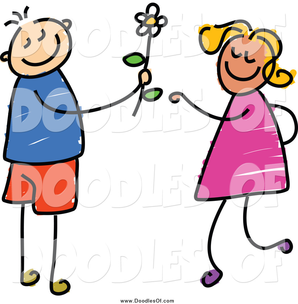1024x1044 Vector Clipart Of A Doodled Boy Giving A Daisy To A Girl By Prawny