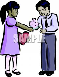 230x300 An Asian Girl Giving Flowers To Her Boyfriend Clipart Picture