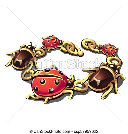 450x470 Golden Bracelet In The Form Of Beetles And Ladybugs Isolated
