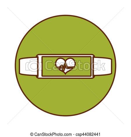450x470 Green Bracelet Heart Cardiology Icon Image, Vector Eps Vector