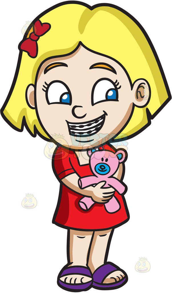 603x1024 A Girl With Braces Hugging Her Teddy Cartoon Clipart Vector Toons