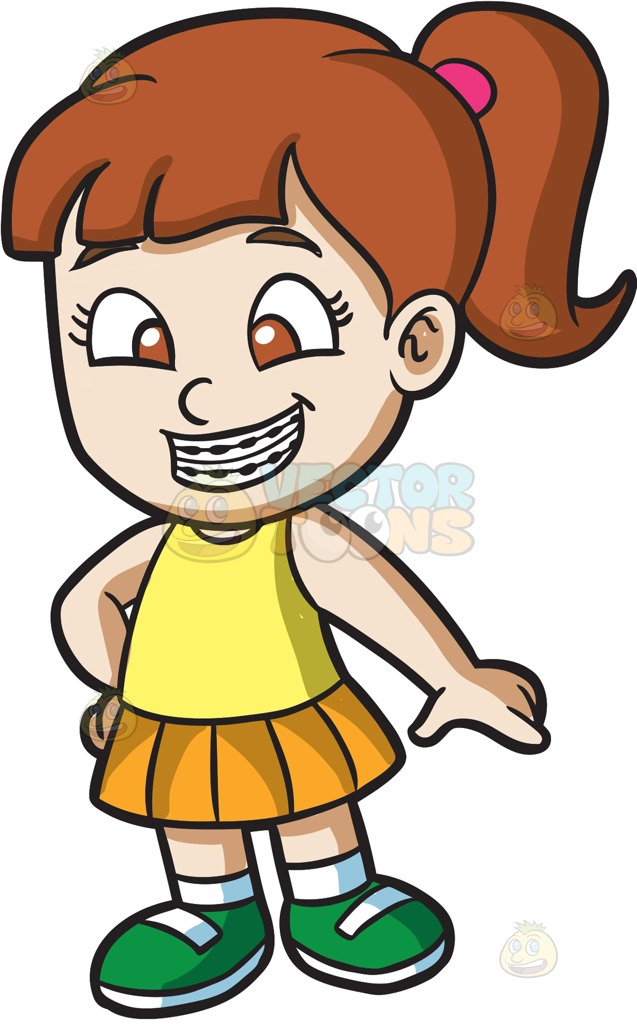637x1024 A Happy Girl With Braces Cartoon Clipart Vector Toons