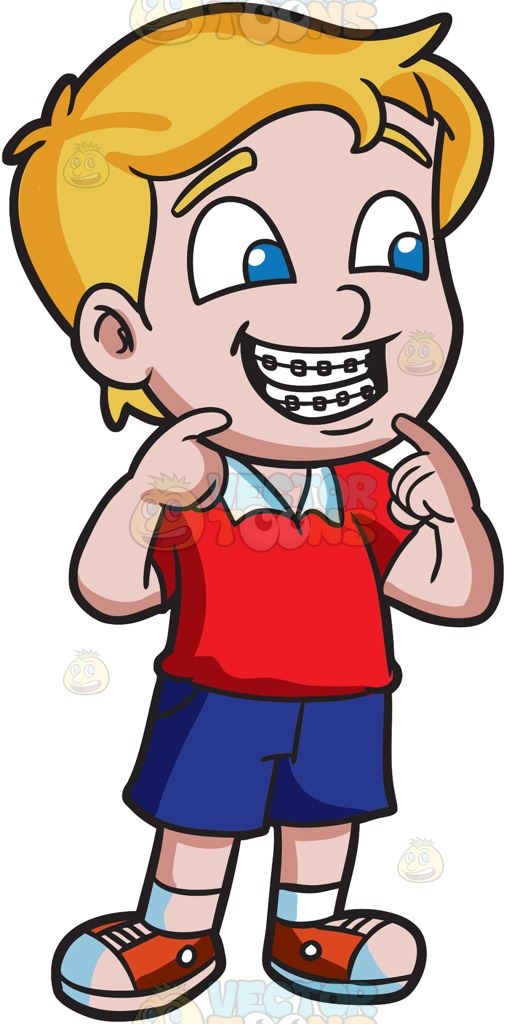 507x1024 A Proud Boy Showing His New Braces Cartoon Clipart Vector Toons