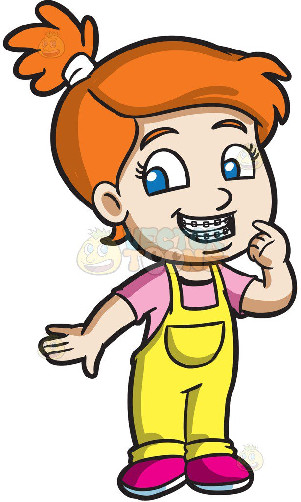 615x1024 A Proud Girl Showing Her New Braces Cartoon Clipart Vector Toons