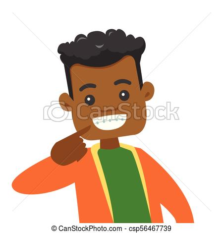 450x470 African Man Showing His Smile With Dental Braces. Young Vectors