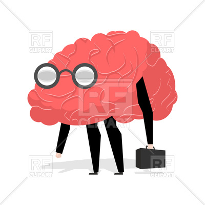400x400 Brain With Glasses, Intellect, Smart Royalty Free Vector Clip Art