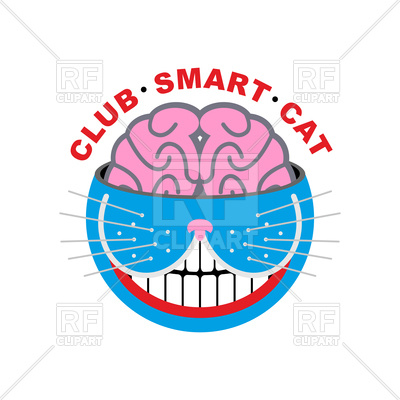 400x400 Club Smart Cat. Animal And Brain Emblem. Royalty Free Vector Clip