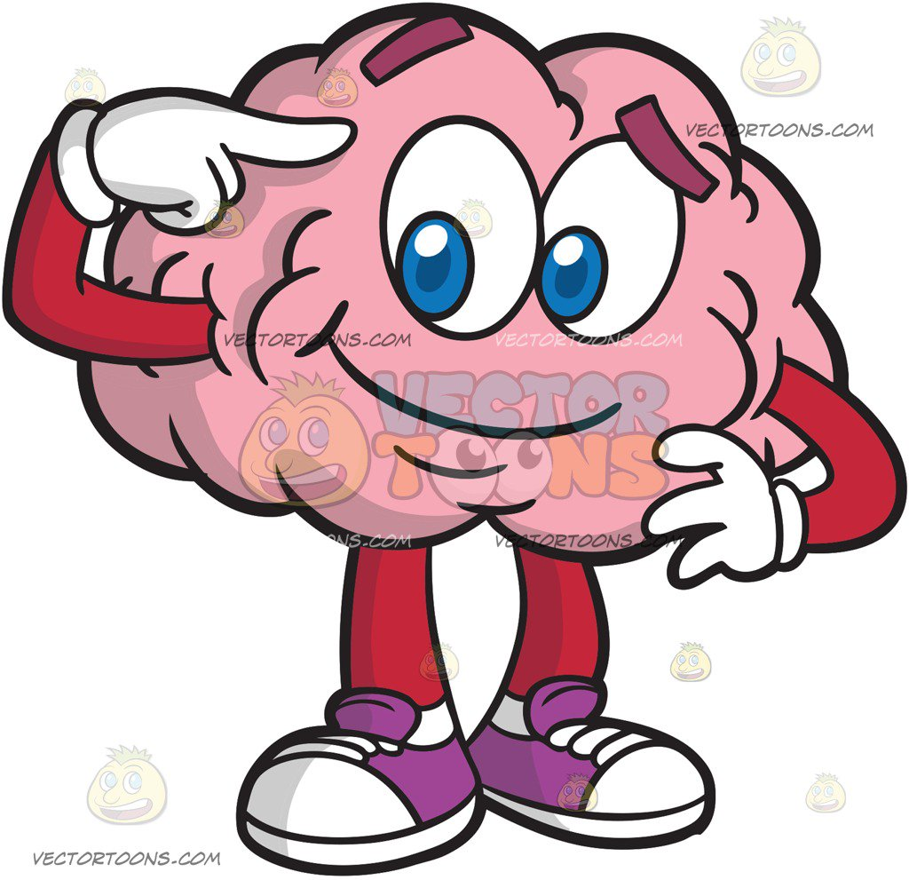 1024x991 A Bright And Smart Brain Cartoon Clipart Vector Toons