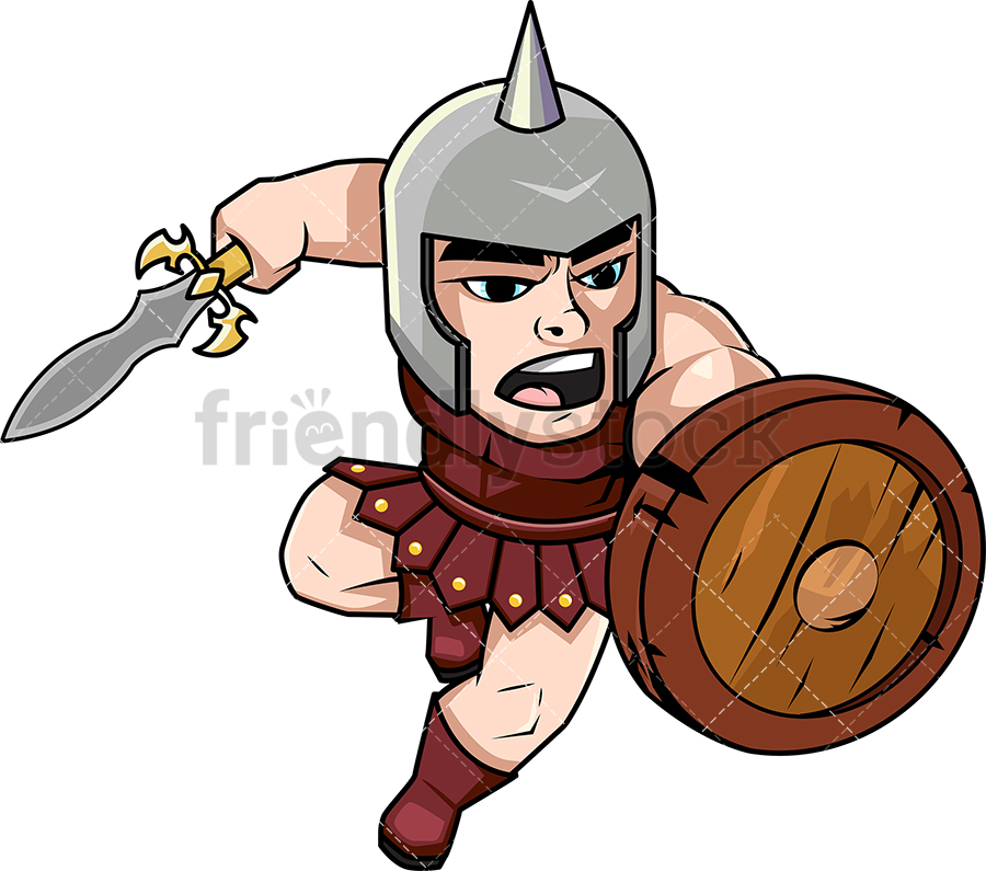 900x795 Brave Gladiator Charging With Sword Vector Cartoon Clipart