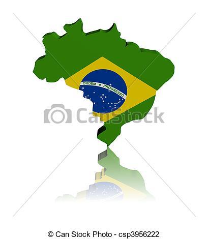 409x470 Brazil Map Flag 3d Render With Reflection Illustration Clip Art