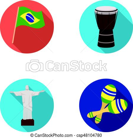 450x470 Brazil, Country, Flag, Drum Brazil Country Set Collection