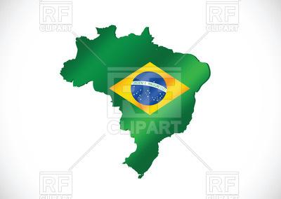 400x284 Green Brazil Contour Royalty Free Vector Clip Art Image