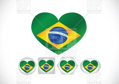 400x284 Brazil Flag Heart Shaped Royalty Free Vector Clip Art Image
