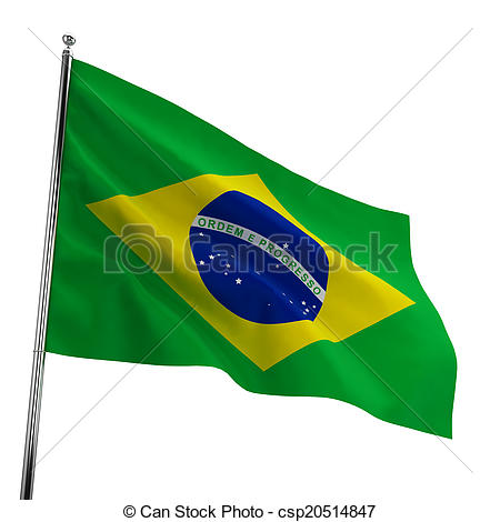 450x470 Brazil Flag. 3d Illustration Isolated On White Background Drawing