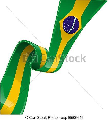 426x470 Brazil Ribbon Flag On White Background Eps Vector