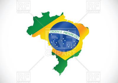 400x284 Brazilian Flag On Brazil Contour Royalty Free Vector Clip Art
